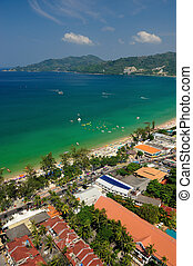 Patong tropical beach from aerial view,  Phuket. Thailand.