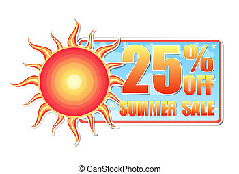 25 percentages off summer sale in label with sun - 25...