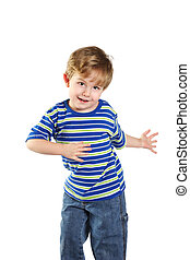 Toddler Boy Dancing - A happy young boy dances