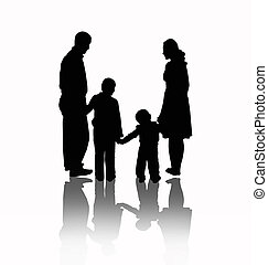 Family vector - Silhouette Happy Family on Walk in Action,...