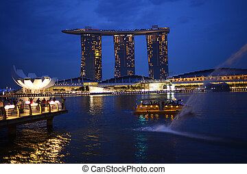 SINGAPORE - APRIL 30: Marina Bay Sands Hotel in day on April 30, 2012 on Singapore. This hotel is billed as the world's most expensive standalone casino property at S$8 billion.