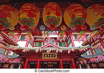 Buddha, diente, reliquia, templo, China, pueblo, singapur