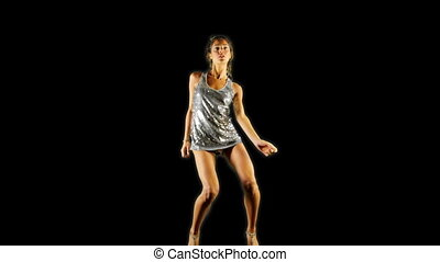 a sexy woman dances in a sparkly disco dress, shot as a sequence of images at 6 frames per second