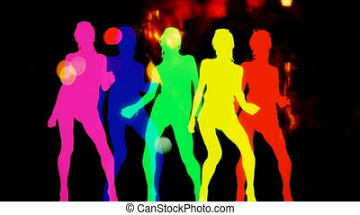 abstract silhouettes made from a sexy disco dancer