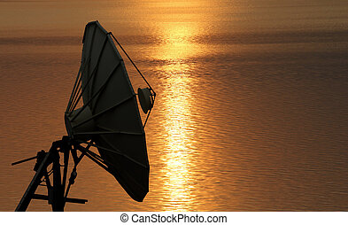 Satellite dish at beautiful sunrise background
