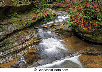 Middle Falls at Old Man's Cave - The Middle Falls area at...
