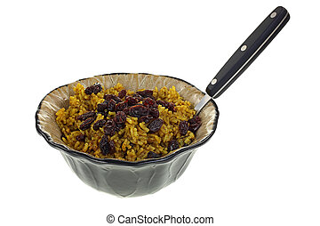 Spicy Rice and Raisins Dish Fork - A tempting dish of spicy...