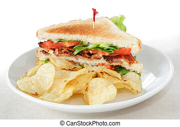 Bacon Lettuce and Tomato Sandwich with potato chips - Bacon...