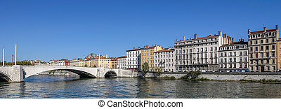 Panoramic view of Lyon city and Saone River