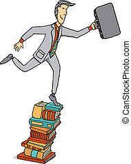 Businessman stepping on a pile of books