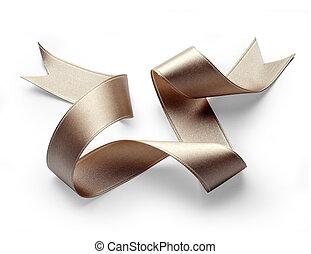 golden ribbon - golden silk ribbon on white background