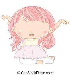 illustration of a cute girl - illustration of a cute happy...