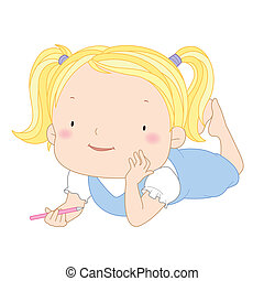 illustration of a cute child girl with a pencil.