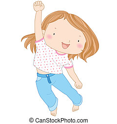 illustration of a cheerful girl jumping against a white...