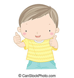 illustration of a confident boy showing thumbs up isolated...