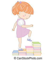 illustration of a cute girl going up the stairs of books