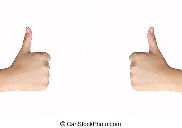 Hand Signalling Thumbs Up Isolated on white