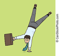 Agile businessman Business upside down