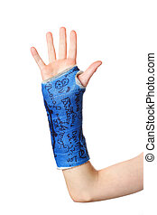 Broken Arm - A child\\\'s arm in a blue cast