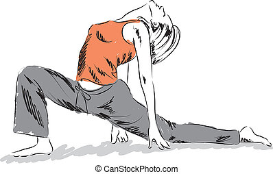 woman workout yoga illustration