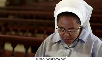 People, religion, nun praying - Woman and christian faith,...