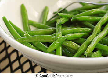 Sauteed Green Beans - Closeup of a bowl of sauteed Green...