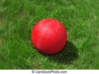 Red Playground Ball - A red ball spins on the grass