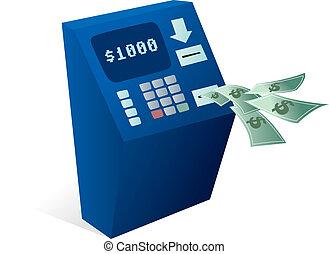 ATM Cash dispenser giving money away