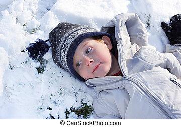 coupure, Prendre, jouer, jour, neigeux