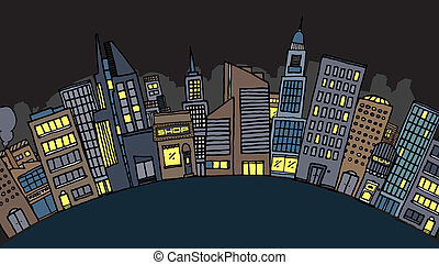 Vector city at night