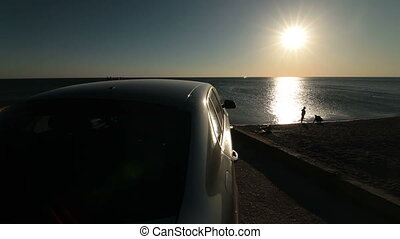 Car Arriving At The Beach - Summer Travel Destination - Car...