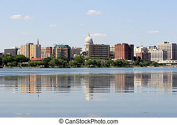 Skyline of Madison Wisconsin - State of Wisconsin Capital as...