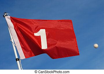 Good Aim - A red golf flag with the number 1 against a blue...