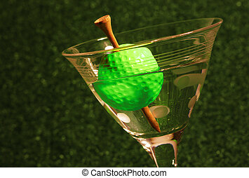 19th Hole - A golf ball olive with a tee toothpick in a...