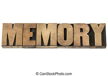 memory in wood type - memory word - isolated text in...