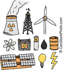 Energy vector icon set Alternative power generation