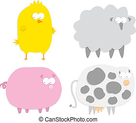 Vector farm animals (paper cut style)