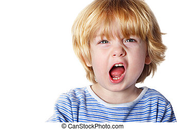 Aggression - A toddler boy yelling on white background