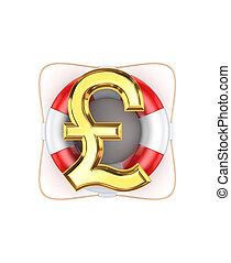 Sign of pound sterling on lifebuoy.