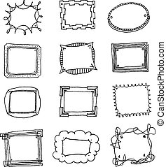 Hand drawn vector picture frame set