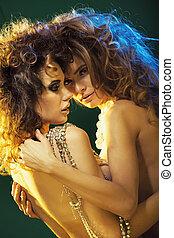 Hugging nude women in sexy pose - Hugging nude ladies in...