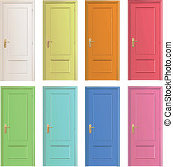 Collection of colorful doors Vector design