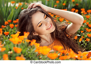 Enjoyment - free smiling woman enjoying happiness. Beautiful...