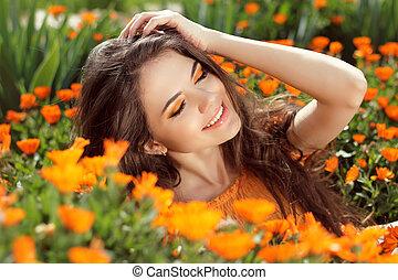 przyjemność, -, wolny, uśmiechanie się, kobieta,...