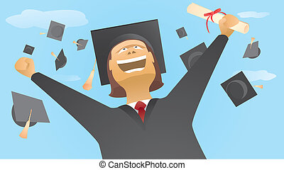 Happy graduate and caps up in the air