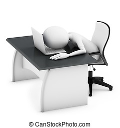 3d man sleeping on a desk with laptop on white background