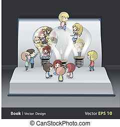 Several kids around bulb inside a book. Vector design.