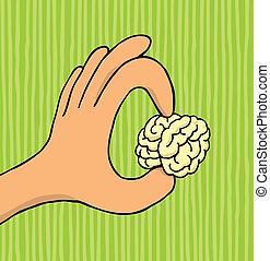 Hand holding tiny brain