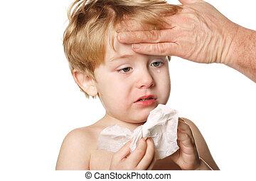 enfermo, niño, enjugar, el suyo, nariz
