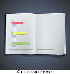 Three white egg with colorful paper inside book. Vector...